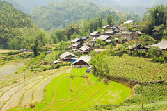 Akha villages in Sapa, Vietnam, Magnificent Rice Terrace Royalty Free Stock Photography