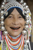 Akha woman in northern Thailand. Akha women are an ethnic group in Asia and bear rich silver jewelry Stock Photo