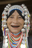 Akha woman in northern Thailand. Akha women are an ethnic group in Asia and bear rich silver jewelry Stock Images