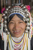 Akha woman in northern Thailand. Akha women are an ethnic group in Asia and bear rich silver jewelry Royalty Free Stock Photos