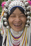 Akha woman in northern Thailand. Akha women are an ethnic group in Asia and bear rich silver jewelry Royalty Free Stock Photography