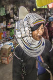 Akha woman. In traditional costume on the market of Keng Tung, Myanmar Stock Images
