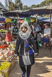 Akha woman. In traditional costume on the market of Keng Tung, Myanmar Stock Photos