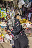 Akha woman. Woman of the Akha tribe on the market of Keng Tung in the north of Myanmar Royalty Free Stock Photos