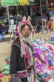 Akha woman. Woman of the Akha tribe on the market of Keng Tung in the north of Myanmar Royalty Free Stock Photo