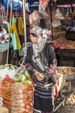 Akha woman. Woman of the Akha tribe on the market of Keng Tung in the north of Myanmar Royalty Free Stock Photography