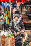 Akha woman. Woman of the Akha tribe on the market of Keng Tung in the north of Myanmar Stock Images