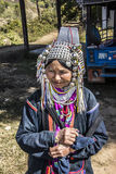 Akha woman. Woman of the Akha tribe is selling handmade goods Stock Photos