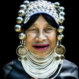 Akha woman. Unidentified Akha tribe elderly woman with traditional clothes and silver jewelery in hill tribe minority village,Thailand Stock Photography
