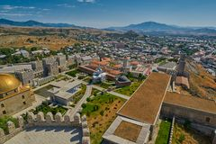 AKHALTSIKHE, GEORGIA - 08 AUGUST 2017: Famous Rabati Castle Comp. AKHALTSIKHE, GEORGIA - 08 AUGUST 2017: Majestic Rabati Castle Complex under summer sunshine Stock Images