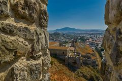 AKHALTSIKHE, GEORGIA - 08 AUGUST 2017: Famous Rabati Castle Comp. AKHALTSIKHE, GEORGIA - 08 AUGUST 2017: Majestic Rabati Castle Complex under summer sunshine Royalty Free Stock Image