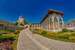 AKHALTSIKHE, GEORGIA - 08 AUGUST 2017: Famous Rabati Castle Comp. AKHALTSIKHE, GEORGIA - 08 AUGUST 2017: Majestic Rabati Castle Complex under summer sunshine Royalty Free Stock Photo