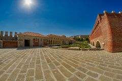 AKHALTSIKHE, GEORGIA - 08 AUGUST 2017: Famous Rabati Castle Comp. AKHALTSIKHE, GEORGIA - 08 AUGUST 2017: Majestic Rabati Castle Complex under summer sunshine Stock Photo