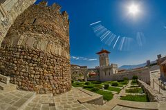 AKHALTSIKHE, GEORGIA - 08 AUGUST 2017: Famous Rabati Castle Comp. AKHALTSIKHE, GEORGIA - 08 AUGUST 2017: Majestic Rabati Castle Complex under summer sunshine Royalty Free Stock Photography