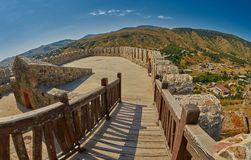 AKHALTSIKHE, GEORGIA - 08 AUGUST 2017: Panoramic view from the t. Ower of Majestic Rabati Castle Complex with young female tourist under summer sunshine Stock Images