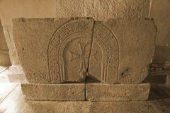Akhaltsikhe Rabati Castle Cross Stone Carving stock photography