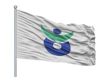 Aki City Flag On Flagpole, Japão, prefeitura de Hiroshima, isolada no fundo branco Ilustração Stock