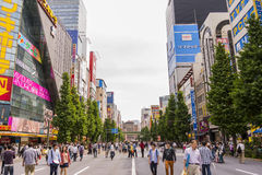 Akihabara area, Tokyo. Akihabara gained the nickname Akihabara Electric Town shortly after World War II for being a major shopping center for household Stock Photo