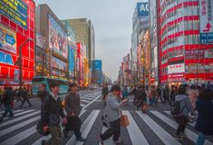 Akihabara district on March 29, 2016 in Tokyo, JP. The district is a major shopping area for electronic, computer, anime, games an Royalty Free Stock Photos