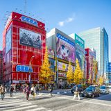 Akihabara Electric Town. Pedestrians and traffic in the Akihabara district December 29, 2012 in Tokyo, JP. The district is a major shopping area for electronic Stock Photography