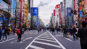Roads are closed for tourists visiting Akihabara. stock image