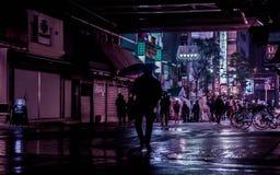 Akihabara nätter regnar går mörker royaltyfri fotografi