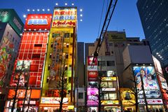 Akihabara, Tokyo. TOKYO - APRIL 12: People visit Akihabara shopping area on April 12, 2012 in Tokyo. Stores in Akihabara are considered one of best electronics Royalty Free Stock Photography