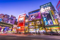 Akihabara. TOKYO - JANUARY 2: Akihabara district January 2, 2013 in Tokyo, JP. The district is a major shopping area for electronic, computer, anime, games and Royalty Free Stock Images