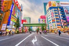 Akihabara Tokyo, Japan Cityscape på skymning arkivfoton