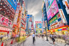 Akihabara, Tokyo, Japan Cityscape at Twilight stock photography