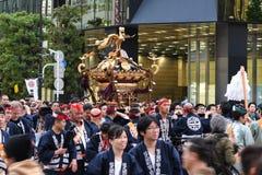 Akihabara, Tokyo, Japan. Tokyo, Japan - May 14, 2017: The parades of portable shrines, Mikoshi, are passing along Akihabara area during Kanda Matsuri festival Stock Photography