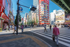 Akihabara. Tokyo, Japan. May 31, 2015. Akihabara in Sotokanda district in Tokyo with unidentified people. Akihabara is popular in Tokyo for its major shopping Stock Photo