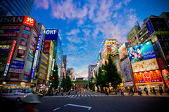 Akihabra district of Tokyo by night Stock Images