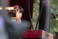 Akiko敦贺,有卢霍的唐纳森器官球员查利・帕克爵士节的在曼哈顿, 2017年 库存图片