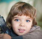 Akim De blauwe ogen van de gezichtsjongen! Royalty-vrije Stock Foto's