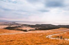 Akita bay view from Mt. Kanpu, Oga-shi. Akita bay and rice field, view from Mt. Kanpu, Oga-shi royalty free stock photo