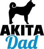 Akita dad blue and silhouette. Akita dad blue with silhouette stock illustration