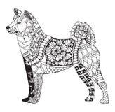 Akita dog zentangle stylized, vector, illustration, freehand pen Stock Photos