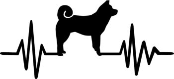 Akita frequency silhouette. Heartbeat frequency with Akita dog silhouette vector illustration