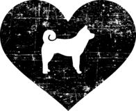 Akita in heart black and white. Akita silhouette in black heart vector illustration