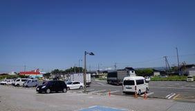 Street in Akita City, Tohoku, Japan. Akita, Japan - May 18, 2017. Cars at parking lot in Akita, Japan. Akita is a large prefecture at the Sea of Japan coast in royalty free stock images