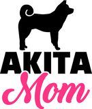 Akita mom pink with silhouette. Akita mom in pink with silhouette stock illustration