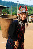 Akka hill tribe in costume dress royalty free stock image