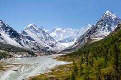 Akkem jezioro i Belukha, Altai góry, Rosja Zdjęcie Royalty Free