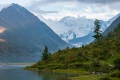 Akkem Lake, Belukha, evening. Trekking in the Altai Mountains Stock Photos