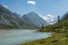 Akkem Lake, Belukha. Trekking in the Altai Mountains Royalty Free Stock Image