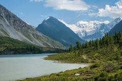 Akkem Lake, Belukha. Trekking in the Altai Mountains Royalty Free Stock Photos