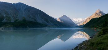 Akkem lake in the early morning. Trekking in the Altai Mountains Royalty Free Stock Image