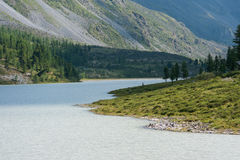 The Akkem lake. Trekking in the Altai Mountains Royalty Free Stock Images