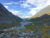Akkem melting glacier valley. Altai Mountains, Russia stock image